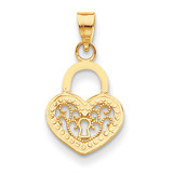 Filigree Heart Lock Pendant 14k Gold K4033