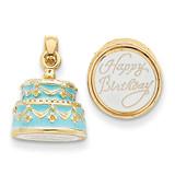 3-D Light Blue Enameled Happy Birthday Cake Pendant 14k Gold K4057