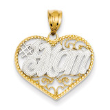 Filigree #1 Mom Heart Pendant 14K Gold & Rhodium K4076