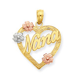 Nana in Heart with Flowers Pendant 14k Tri-Color Gold K4083