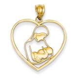Mother & Child in Heart Pendant 14k Gold K4088