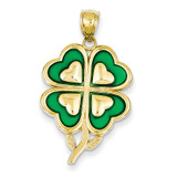 4-Leaf Clover Pendant with Green Acrylic Tips 14k Gold K4099