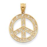 Filigree Peace Sign Pendant 14k Gold K4105
