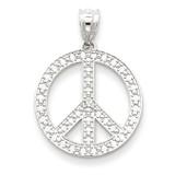 White Peace Symbol Pendant 14k Gold K4106