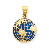 BlueTranslucent Acrylic Globe Pendant 14k Gold K4144