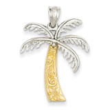 Palm Tree Pendant 14k Two-Tone Gold K4158
