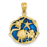 Blue Stained Glassed Shell Cluster Pendant 14k Gold K4166