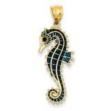 3-D Blue Enameled Seahorse Pendant 14k Gold K4179