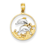 Double Dolphins in Circle Pendant 14K Gold & Rhodium K4186