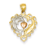 Rhodium Dolphins in Heart Pendant 14k Two-Tone Gold K4188