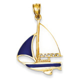 2-D Blue and White Enameled Sailboat Pendant 14k Gold K4199
