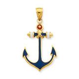 2-D Red, White, and Blue Enameled Anchor Pendant 14k Gold K4201