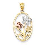 Rhodium Diamond-cut Oval Floral Pendant 14k Two-Tone Gold K4214