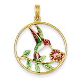 Enameled Hummingbird & Flower Round Frame Pendant 14k Gold K4221