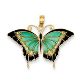 Aqua Stained Glass Wings Butterfly Pendant with Acrylic 14k Gold K4229