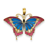 Blue Stained Glass Wings Butterfly Pendant with Acrylic 14k Gold K4230
