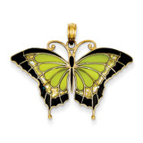 Green Stained Glass Wings Butterfly Pendant with Acrylic 14k Gold K4231