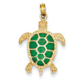 Green Translucent Acrylic Sea Turtle Pendant 14k Gold K4256