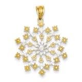 Diamond-cut Starburst Snowflake Pendant 14K Gold & Rhodium K4262