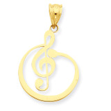 G Clef Musical Note Pendant 14k Gold K4301