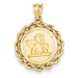 Satin Angel in Bezel Charm 14k Gold K433
