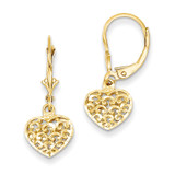 3-D Diamond-cut Mini Puffed Heart Leverback Earrings 14k Gold K4383