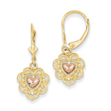 Heart with Lace Trim Leverback Earrings 14k Two-Tone Gold K4384