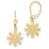 Snowflake Leverback Earrings 14k Gold K4405