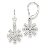 3-D Snowflake Leverback Earrings 14k White Gold K4406