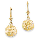 Sand Dollar Leverback Earrings 14k Gold K4423