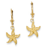 Starfish Leverback Earrings 14k Gold K4426