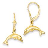 Jumping Dolphin Leverback Earrings 14k Gold K4436