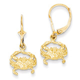 Blue Crab Leverback Earrings 14k Gold K4443