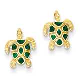 Green Enameled Sea Turtle Post Earrings 14k Gold K4447
