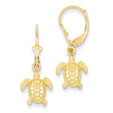 3-D Mini Sea Turtle Leverback Earrings 14k Gold K4451