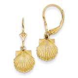 Scallop Shell Leverback Earrings 14k Gold K4459