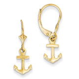 Mini Anchor Leverback Earrings 14k Gold K4503