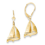 3-D Sailboat Leverback Earrings 14k Gold K4510