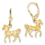 3-D Horse Leverback Earrings 14k Gold K4518