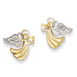 Angel with Heart Post Earrings 14K Gold & Rhodium K4523
