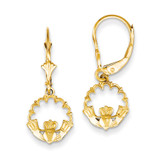Claddagh in Circle Leverback Earrings 14k Gold K4525