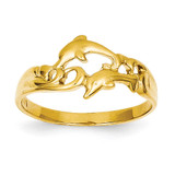 Double Dolphins with Waves Ring 14k Gold K4551