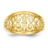 Fleur-De-Lis Tapered Ring 14k Gold K4606
