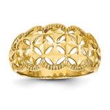Scalloped Edge Pattern Dome Ring 14k Gold Diamond-cut K4620