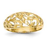 Paisley Diamond-cut Design Dome Ring 14k Gold K4624