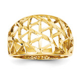 Triangle Cut-out Pattern Dome Ring 14k Gold Diamond-cut K4628