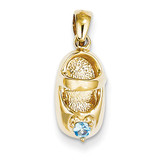 3-D December Synthetic Stone Engraveable Baby Shoe Charm 14k Gold K4652DEC