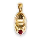 3-D January Engraveable Red Synthetic Stone Baby Shoe Charm 14k Gold K4652JAN