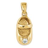3-D March Synthetic Stone Engraveable Baby Shoe Charm 14k Gold K4652MAR