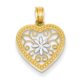 Heart with Rhodium Pendant 14k Gold Polished K4679